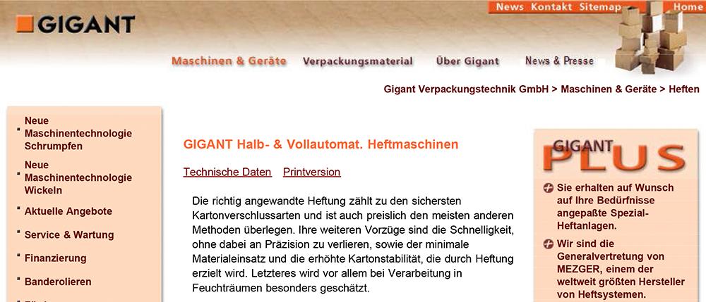 2001 - Erste Internetseite von Gigant